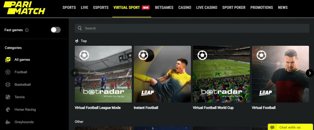 Seção de esportes virtuais